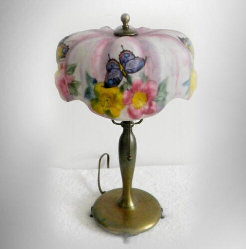 Pairpoint vintage puffy shade butterfly boudoir table lamp - FREE SHIPPING