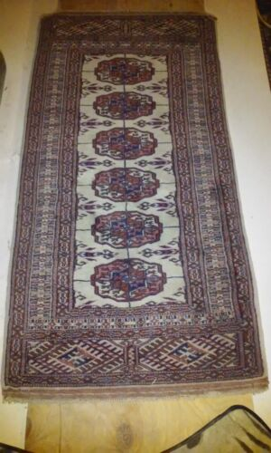 GORGEOUS FINE HAND KNOTTED ANTIQUE ROYAL BOCHARA RUG IVORY COLOR