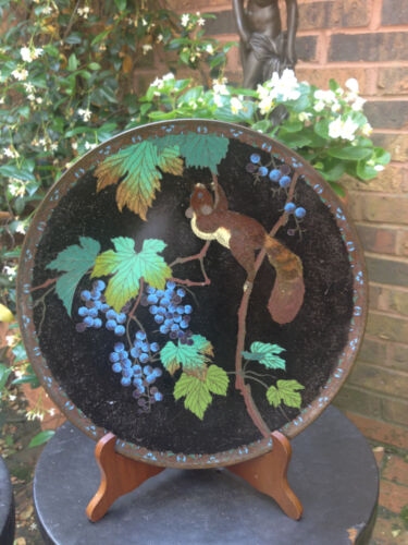 "12"" Black Ground Japanese Cloisonne Charger Plate Dish Tray w Squirrel & Grapes"