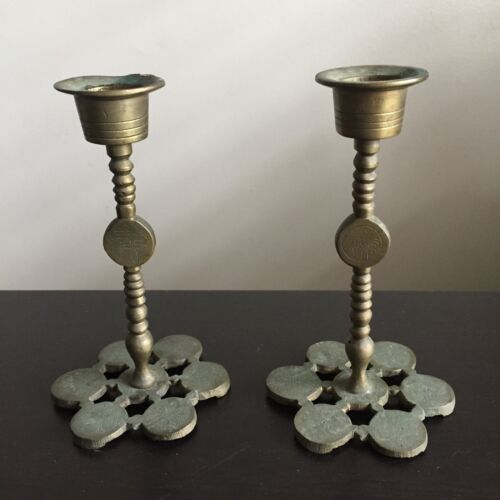 Fine Antique PAIR Chinese Brass Candleholders Calligraphy Scholar Art NICE