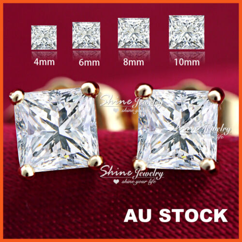 24K YELLOW GOLD GF LAB DIAMOND MENS LADY KIDS CRYSTAL SQUARE STUD EARRINGS GIFT