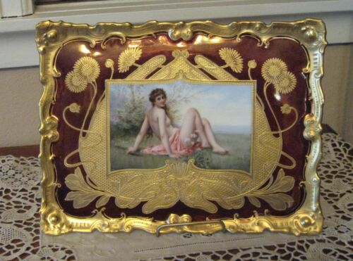 Ca.1890's Dresden Nude Portrait Painting on Porcelain Plaque Plate w/Heavy Gold