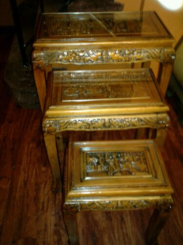 ASIAN Set of 3 Nesting Tables, Oriental w/ scenes under glass. Carved Table tops