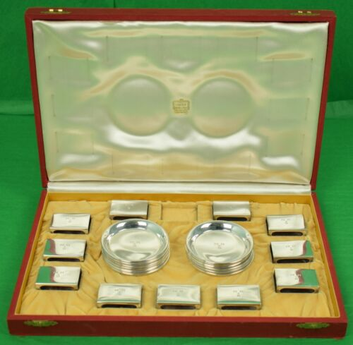 Cartier Sterling Silver Set of 12 Coasters/Ashtrays & 11 Matchbook Holders Box
