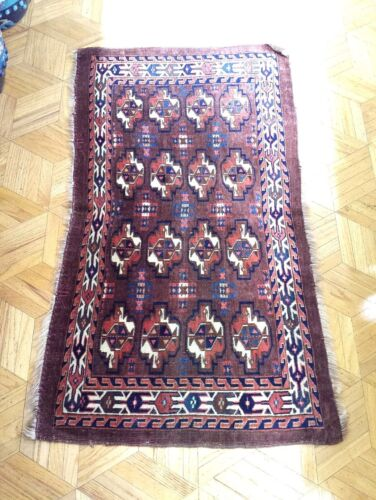 Antique Hand Knotted Turkmenistan Yomut Rug