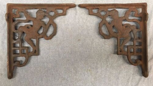 Pair Antique Iron Figural Shelf Corbels Brackets Shabby Cherub Chic Vtg 123-17J