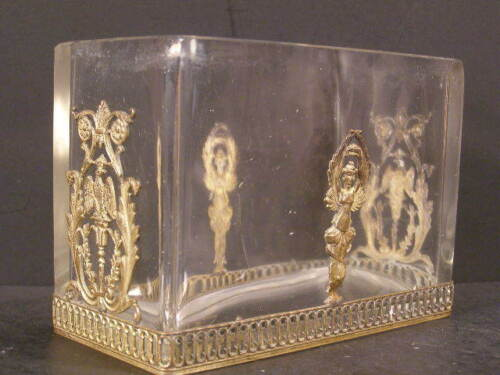~19c Empire French Crystal Dore Bronze Baccarat Dish Jardinière Letter Card Box~
