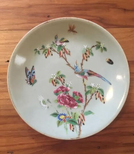 19th c Antique Chinese Porcelain Famille Rose CELADON PLATE Birds - Signed