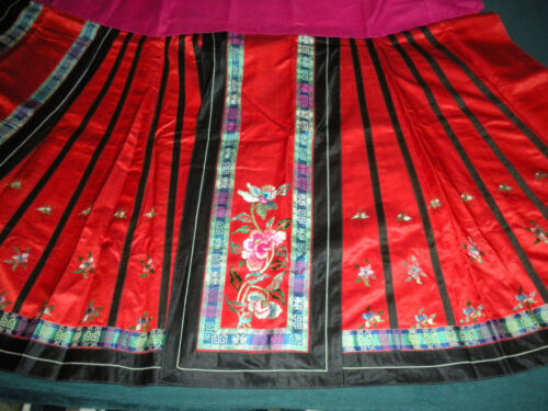 Antique Chinese Qing Dynasty Embroidered Red Silk Wrap Wedding Apron/Skirt