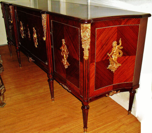 "Beautiful French Empire Style Sideboard Server Buffet Cabinet, 99"" Length"
