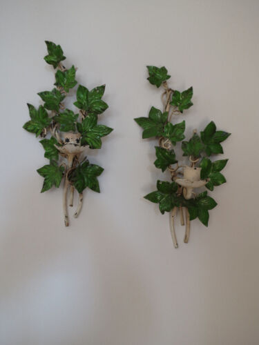 Vintage Italian Tole Wall Sconces, Pair. Emerald Green Ivy Leaf, Patina MCM