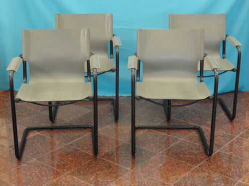 FOUR RARE 80s GRAY WRAPPED LEATHER MATTEO GRASSI DINNING CHAIR w/ BLACK PATINA