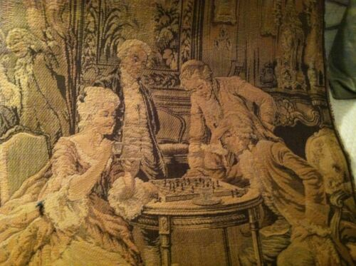 Antique French Tapestry c 1920 w  Salon Chess Players in Muted Tones 41.5 2 x 26