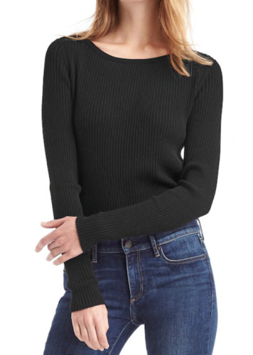 GAP Soft Ribbed Sweater Black  Women`s Top NWT Msrp $45