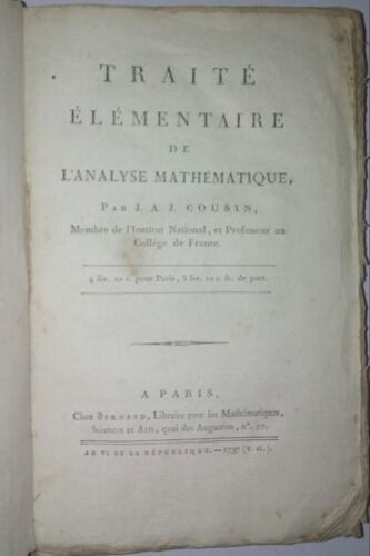 Settecentina- Cousin- Traitè èlèmentaire analyse mathematique 1797 matematica