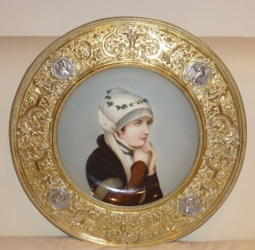 VINTAGE HAND PAINTED PORCELAIN PORTRAIT PLATE WITH BRASS & COINS EMBOSSED FRAME