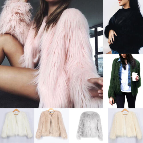 Women Luxury Warm Ladies Faux Fox Fur Jacket Cardigan Coat Tops Outwear Parka