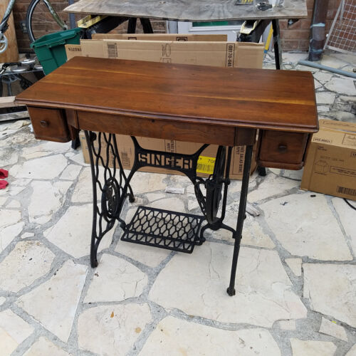 Desk wood TOP TABLE Singer Treadle Sewing Machine Cast Iron Base Industrial Age