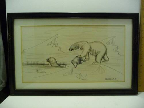 Vintage Pen & Charcoal Drawing Robert Mayokok Polar Bear Wood Frame Signed