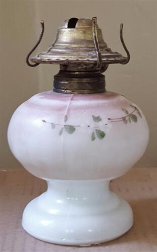 Vintage Tiny Little Pressed Milk Glass Fluid Lamp - VGC - CUTE TINY LAMP