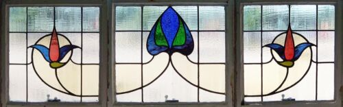 Large Set of Antique Stained Glass Windows Glorious Eight color Swag      (1894)