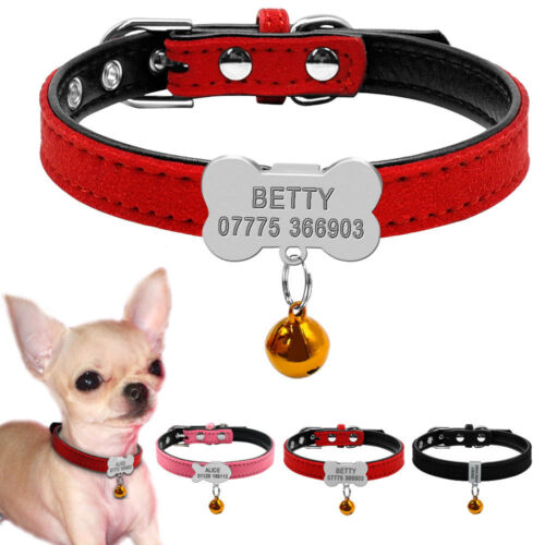 Puppy Small Custom Pet Dog Collar with Bell Suede Leather for Chihuahua XS S