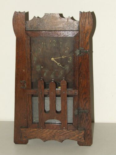 Antique Working 1920's Sessions Stickley Era Mission Oak Mantel Shelf Clock Rare