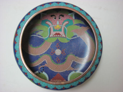 Fine Antique Chinese Cloisonne Bowl with Dragon and mark