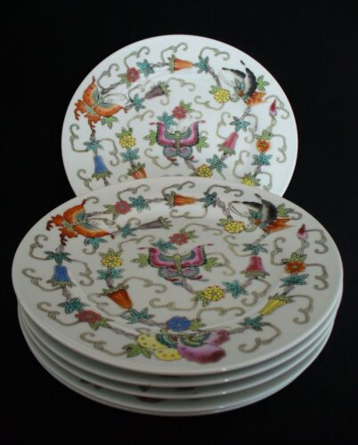 "6~Vintage~White Chinese Porcelain~Enamel Hand Painted~Butterfly~7"" Plate~ca.1950"