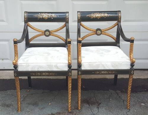 PAIR FOURNIER STYLE HOLLYWOOD REGENCY EBONIZED PARCEL GILT CARVED ROPE LEG CHAIR