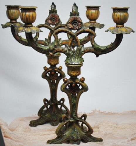 Fine Original Pair French Art Nouveau Double Candle Holders Antique Candelabras