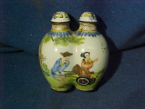 19thc CHINESE Hand PAINTED Porcelain DOUBLE SNUFF BOTTLE Signed
