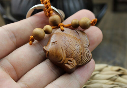Wood Carving Chinese Little Fish Statue Sculpture Pendant Key Chain
