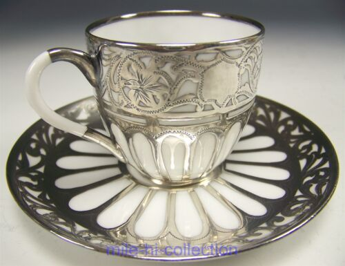 LOVELY RARE LIMOGES SILVER OVERLAY DEMITASSE CUP & SAUCER