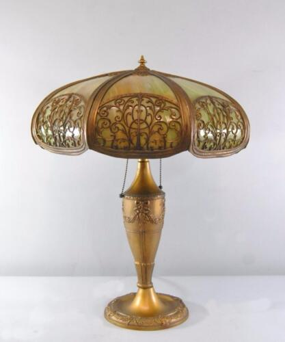 Antique Bent Panel Slag Glass Green And Gold Table Lamp Two Sockets