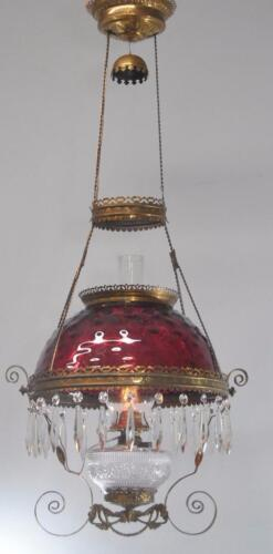 Antique Cranberry Bullseye Hanging Kerosene Oil Lamp Chandelier With Prisims