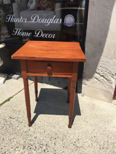 Antique Primitive NICE Single Drawer Work Sewing End Table