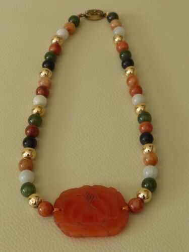 FINEST ANTIQUE CHINESE  SILVER NECKLACE WITH CARNELIAN JADE & VARIOUS STONES