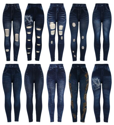 New Womens Stretchy Thick Denim Print Denim Look Ripped Skinny Legging Jeggings