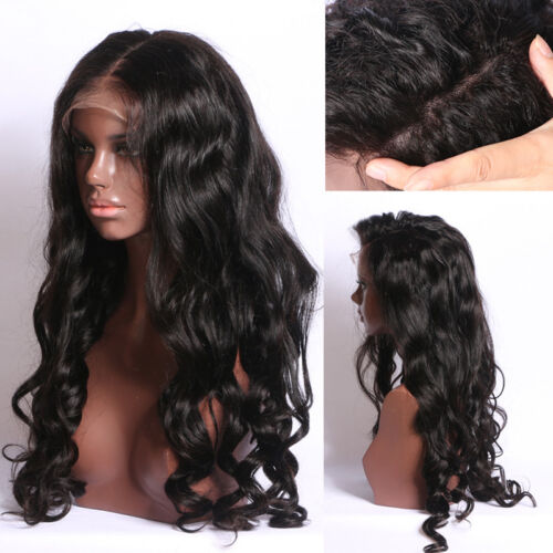 Brazilian Remy Hair Wavy Large Curly Glueless Lace Front Long Full Wig Black