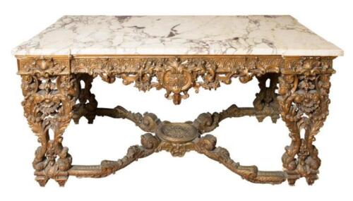 Louis XIV Style Marble Top Giltwood Center Table Lot 339