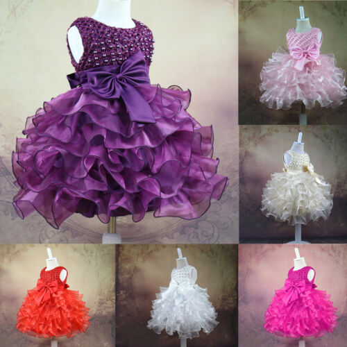 HOT Baby Toddler GIRL Dress Birthday Flower Princess Wedding PARTY Pageant Dress