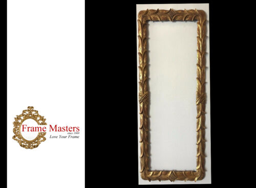 Solid Wood Hand Carved Picture Frame Gilded in Genuine 22k Gold - EB52