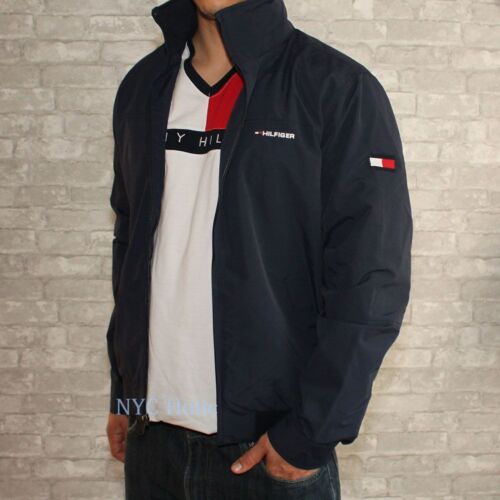 New Tommy Hilfiger Mens Yacht Jacket Navy Windbreaker All Sizes Water Resistant