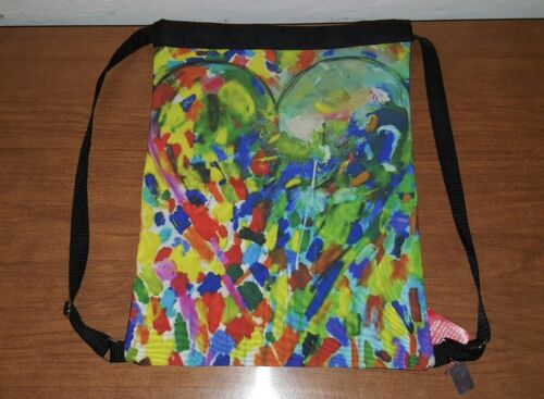 """JIM DINE art printed sport backpack polyester bag 12""""w x 16"""" H. Heart image New"""