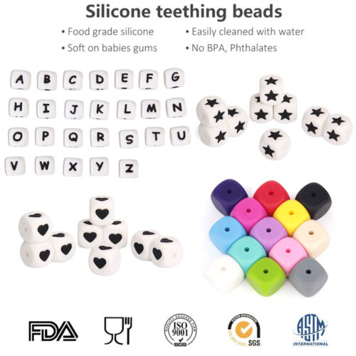 Silicone Cube Alphabet Teething Beads DIY Baby Teether Chewable Jewelry BPA Free