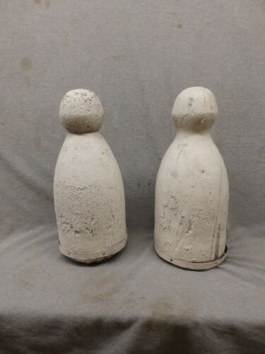 Antique Pair Large Nautical Post Finials Old Vtg Shabby Garden Chic 17x7 350-17P
