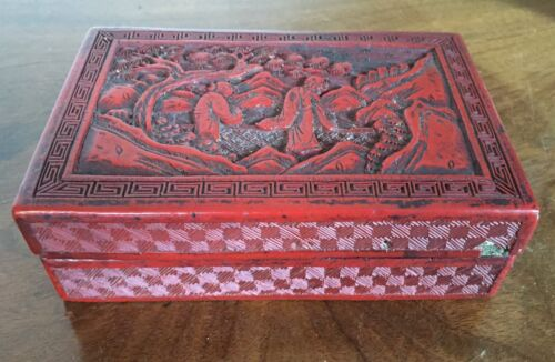 Antique Chinese Carved Red Cinnabar Lacquer Box 19th c. Immortals Landscape