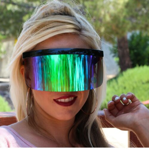 Futuristic Oversized XXL Shield Visor Sunglasses Flat Top Mirrored Mono Lens 172