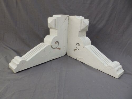 Pair Antique Wood Corbels Gingerbread Victorian Garden Shabby Vtg Chic 417-17P
